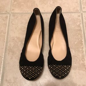 J. Crew EUC Black suede flats with some sparkle!